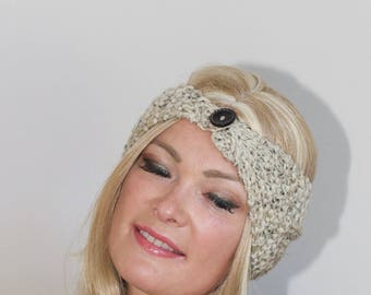 Winter Headband Button Earwarmer Knit Headwrap CHOOSE COLOR Oatmeal Chunky Ear Warmer Button Headband Warm  Boho Girly Gift under 25