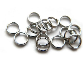50 6mm Dark Silver Split Rings