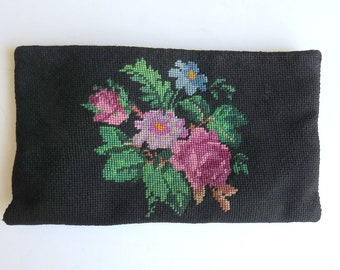 Vintage Needlepoint Floral Clutch Handmade