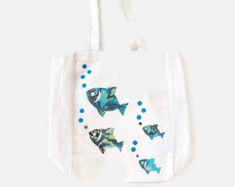 Canvas Tote, Beach or Pool Bag, Aqua Blue Fish, Ocean Applique Design, Vacation Bag, Gift for Adults or Kids