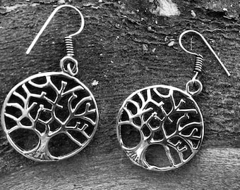 Tree of Life Earring Silver colored