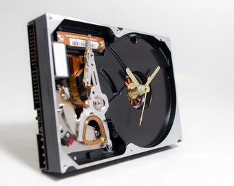 Industrial Clock, Hard Drive Clock, Unique Clock, Geek Clock, Birthday Gift, Husband gift, Unique Gift, Boyfriend Gift, Dad Gift, Desk Clock