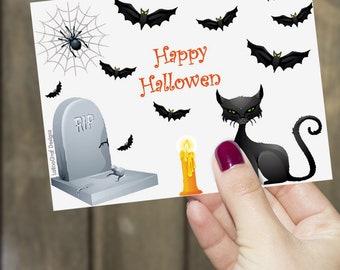 Happy Halloween Card * Scary Halloween Card * Black Cat