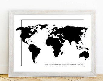 Minimal world map etsy world map travel wall print typography minimalist artwork travel lover modern art print gumiabroncs Images