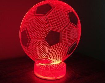 Soccer Ball 3D Night Lamp, 3D Night Light Children Light Home Decor  Illusion Romantic Light