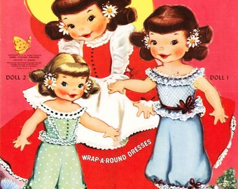 4 Little Girls Paper Dolls. 1950s Fashions. Southern Belle Fashion.