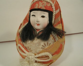 Japanese Bisque Doll Hand Painted Face Silk Kimono Metallic Thread Hair Traditional Asian Oriental Style Ovoid Egg Shape Vintage Toy