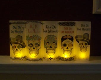 Day of the Dead - Vellum Luminarie Collection - Dia De Los Muertos - SUGAR SKULLS - Skull Lantern - Luminary - Luminaria (5)