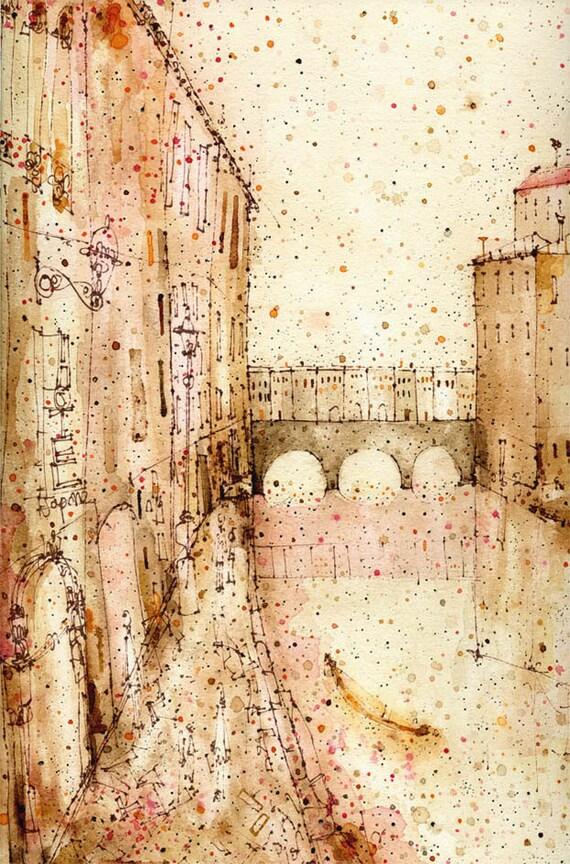 FLORENCE PRINT Ponte Vecchio Italy Watercolor Firenze Print