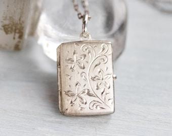 Book locket Necklace - Sterling Silver Art Nouveau Photo Keepsake Pendant and Chain