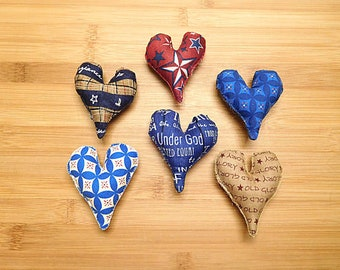 Patriotic July 4th Hearts Ornaments Bowl Filler Holiday Decorations