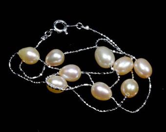 Rosa Glanz Süßwasser Perlenkette zierliche Platin Kette