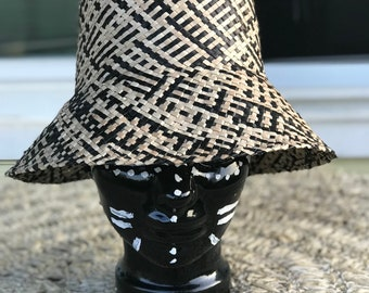 Neutral 2 toned straw summer cloche hat