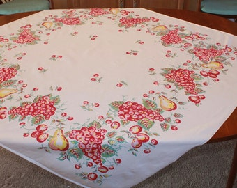 Vintage Fruit Tablecloth, Grapes, Pears, Plums, Cherries, 50 x 46, 1940s, 1950s