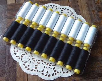 10 pieces - Black or White high quality sewing thread, dressmaking thread (270 yds each spool)