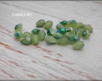 Drops 5 x 2 mm opaque Light Olivine AB X 25 Crystal from China