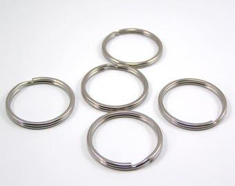 Keyrings 28 x 1.6 mm color Platinum set of 5