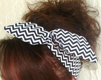 Dolly Bow Black and Cream Cheveron Wire Headband Teen Girl Woman 50s hair