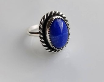 Beautiful natural oval Lapis Lazuil sterling silver ring- size 6.5, boho chic, blue, trendy, pretty, hipster, gypsy