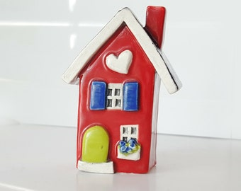 Reserved for Suzanne | Little Clay House | Ceramic House | Miniature House | Whimsical house | Red House | Fairy House | Clay Cottage