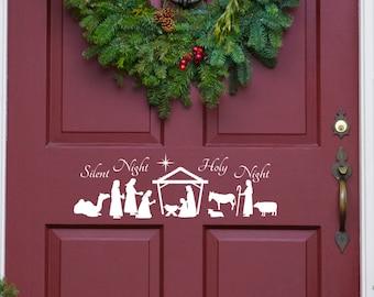 Nativity Scene, Silent Night, Holy Night, Front Door Decal, Nativity Decal, Christmas Decor, Removable Decal, Christmas Nativity, Stickers