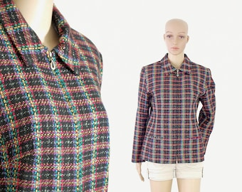 silver thread plaid jacket retro vintage 80s 1980s kitsch black rainbow green yellow red long sleeves front zipper size womens XLARGE