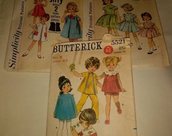 Lot of 3 Toddler Size 3 Dress Patterns from Simplicity and Butterick