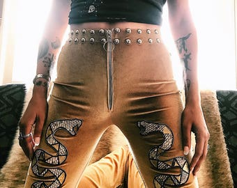 Studded Serpent Bells - stretch velvet high waist bell bottoms