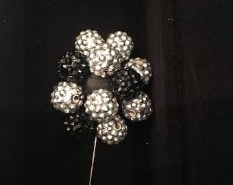 Crystal Bead Lapel Flower