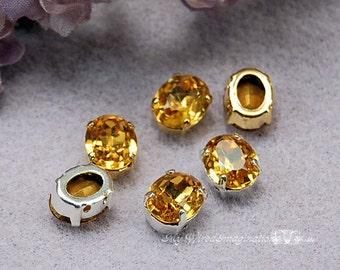 Topaz Yellow, Vintage Swarovski Sew On 10 x 8mm Topaze Oval Shape, Topaz Crystal Sew On, Rhinestone Crystal Setting, November Birthstone