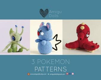 Pokemon crochet pattern, pokemon amigurumi, pokemon pattern, pokemon gifts, amigurumi pokemon, amigurumi crochet patterns, crochet guide
