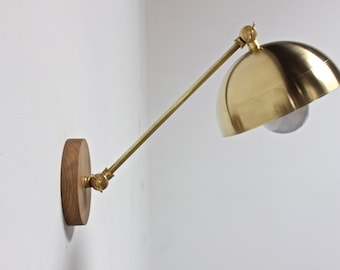 plug in wall sconce, brass sconce, wall lamp, mid century lighting, modern lamp
