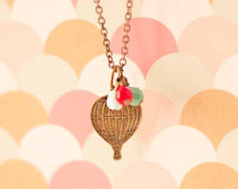 Orbe necklace. Hot air balloon necklace. Love is in the air. Up Up and Away. Cute necklace. globe pendant, world traveler