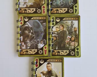12 Star Wars Rogue One Notebooks - Star Wars Birthday Party - Star Wars Party Favors - Star Wars Notepads - Recycled Trading Cards