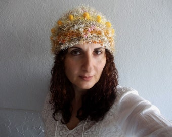 Banana Tree Beanie...Knit and Crochet Slouchy Pom Pom Hat, Rustic Beanie Hat, Winter Fashion Accessories,Yellow Pom Pom Hat..Bright Colors.