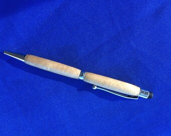 Handcrafted New Huon Pine Turned Wood Pen with stylus.
