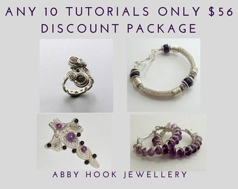 Wire Jewelry Tutorial discount pack - Choose Any 10 tutorials learn to wire wrap and weave