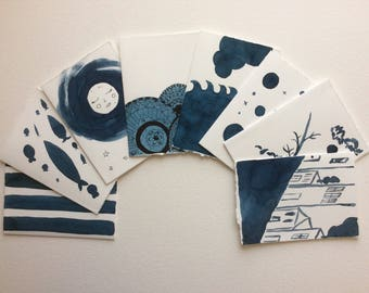 Set of Eight Hand Painted Original Watercolor Notecards (Indigo Series)