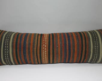 striped lumbar pillow covers faded muted lumbar covers covers handmade pillows 12x36 ethnic pillows wool pillow cover boho cushion cover 259