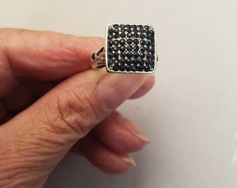 handcrafted silver ring and adjustable rhinestone
