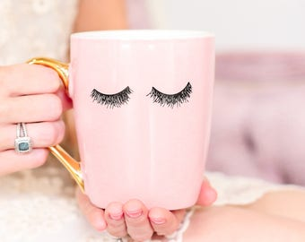 Pink Eyelashes Gold Coffee Mug | Eyelashes Mug Lashes Mug Coffee Cup Mug Bridesmaid Gift Bride Gift Sister Gift Best Friend Gift For Her