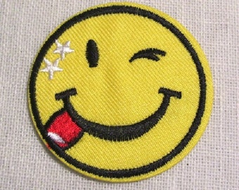 Patch embroidered patch Thermo - head round Wink SMILEY * 5 cm * Applique iron-on