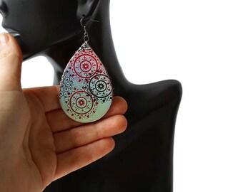 Large Boho Leather Earrings, Leather teardrop earrings, Rainbow leather earrings, Genuine Leather Earrings, Lightweight Earrings