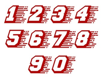Racing Race Numbers Font Cuttable Design SVG PNG DXF & eps Designs Cameo File Silhouette