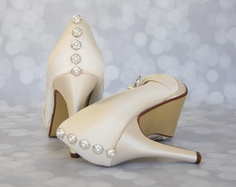 Custom Wedding Shoes -- Ivory Peep Toe with Pearl and Rhinestone Adornment on Toe and Pearl and Rhinestone Buttons