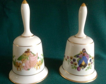 Vintage Pair  of lovely Fine Bone China Bells. Made in England.