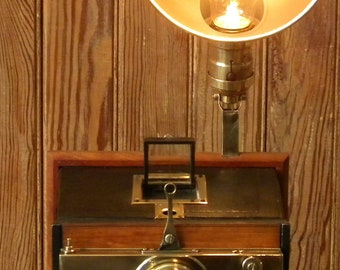 1920's Camera on Cherry wood base Accent/Desk Lamp