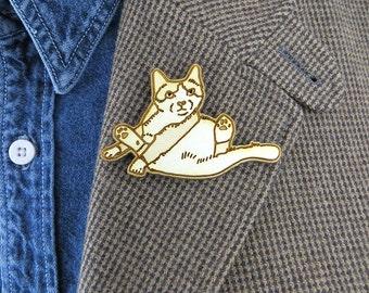 Fat cat brooch, sitting cat pin, cute cat gift, funny cat pin, cat valentine gift, animal lover gift, birch wood, laser cut pin