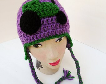 Tractor, Hat John Deere Green inspired, Medum Purple Hat, Adult size