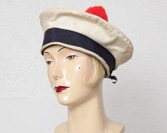 Vintage Tam Hat Red White Blue